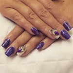 Purple and Gold Sparkling Nails by Louise at Authentic Locks Meanwood